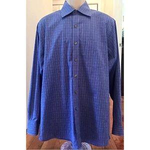 MICHAEL KORS Men's Blue Striped Shirt Sz L 16 1/2